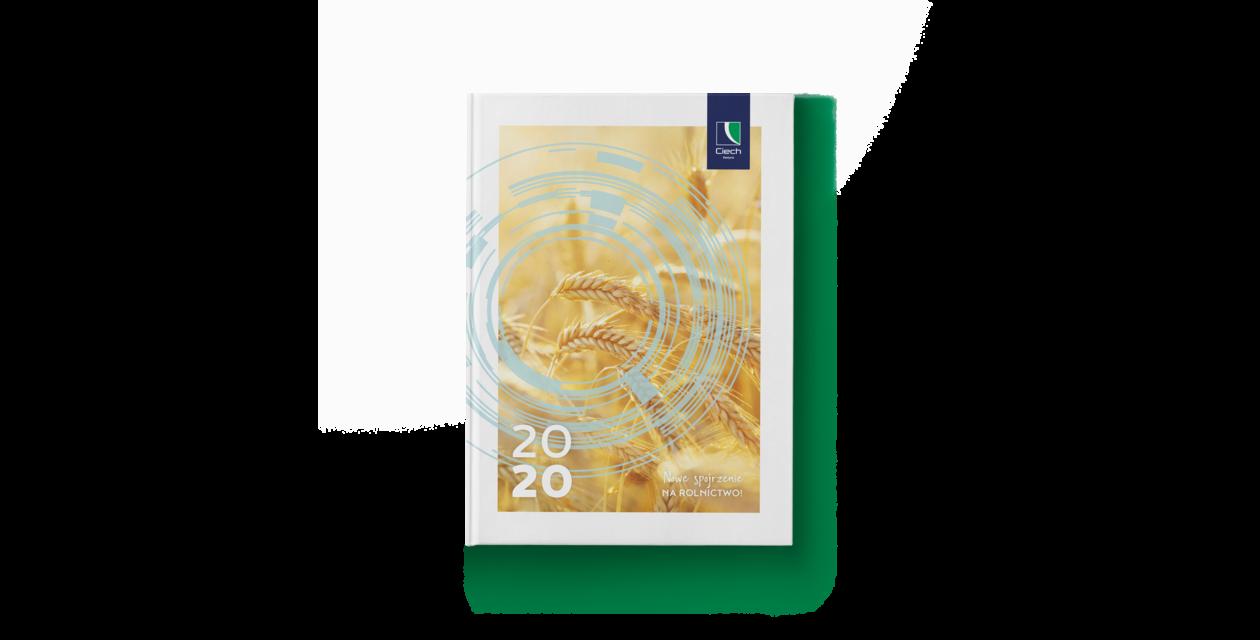 Okładka kalendarza Ciech Sarzyna, zdjęcie przestawiające kłosy zboża, i napis 2020