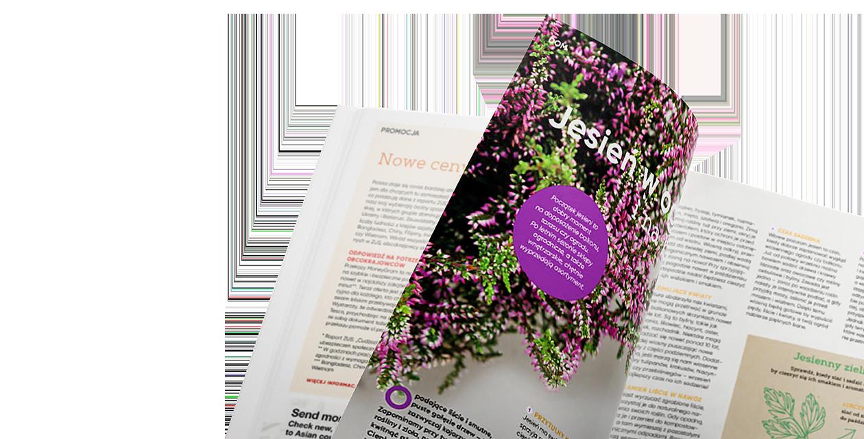 rozkładówka magazynu Tesco, po lewej stronie motyw kwiatu bzu, po prawej tekst